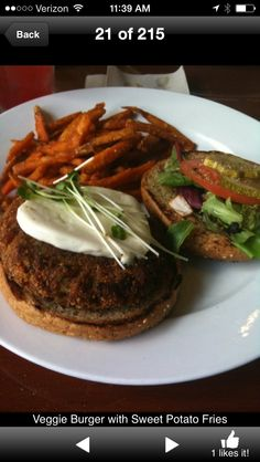 Ruggles Green Veggie Burger And Sweet Potato Fries Opal Rabalais Restaurant Houston Tx