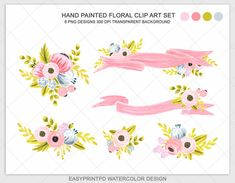 Watercolor Flower Clipart Wedding Floral Clip Art by easyprintPD