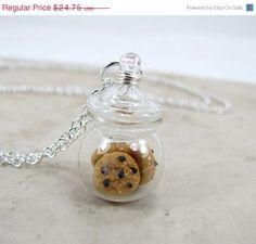 Chocolate Chip Cookie Jar Necklace Miniature Food Jewelry Stop step away from the cookie jar Cute Jewelry, Diy Jewelry, Jewelry Accessories, Unique Jewelry, Jewellery, Jewelry Ideas, Kawaii Jewelry, Gothic Jewelry, Luxury Jewelry