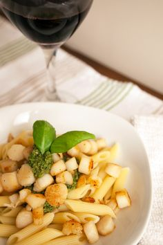 Penne with Scallops and Basil Pesto // www.beetandbaguette.com