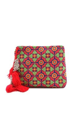 Cleobella Frida: bright oversized clutch with bells and tassels, imported from India