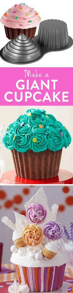 Easily create a big 3-D giant cupcake using the Wilton Giant Cupcake Pan! Assemble top and bottom cake halves with a thin layer of icing. This giant cupcake pan is of professional weight and cast aluminum for exceptional detail. Premium non-stick surface for easy release and cleanup. Includes a lifetime warranty.