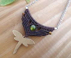 Dragonfly macrame bar necklace silver bar necklace by SelinofosArt