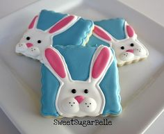 step-by-step tutorial to create these cute bunny sugar cookies with royal icing