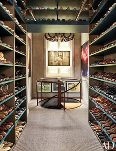 In Lapo Elkann's Milan residence, a glorious shoe collection is showcased on the upper level of his vast closet