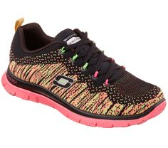 Add some sporty interest to your look with the SKECHERS Flex Appeal - Talent Flair shoe. Unique flat knit fabric upper in a lace up athletic sporty training sneaker with Memory Foam insole. Training Sneakers, Training Shoes, Skechers Mens Shoes, Sketchers Shoes, Baskets, Workout Wear, Slip On Shoes, Me Too Shoes, Nike Air Max