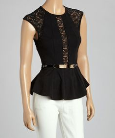 Another great find on #zulily! Black Lace Paisley Belted Cap-Sleeve Peplum Top by flamingo #zulilyfinds