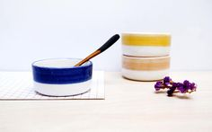 Noe Marin on Etsy  www.noemarin.etsy.com    Small ceramic bowls, Pottery bowl set, Blue white yellow bowls, Ceramics & pottery, Modern contemporary ceramic bowls, Ceramic serving bowls