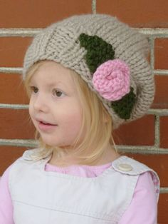 READY TO SHIP: Knit Tan Slouchy Toddler Hat with Knit Pink Rose and Two Leaves - Knitted Toddler Hat. $23.00, via Etsy.