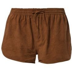 Ganni INGRID Shorts ($110) ❤ liked on Polyvore featuring shorts, bottoms, short, pants, brown, women's trousers, leather short shorts, brown shorts, leather shorts and short shorts