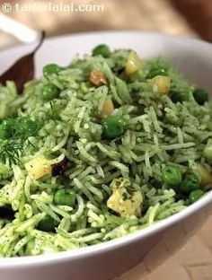 Hara bhara subz pulao, it gets its name from delicately flavoured green paste. Pressure cooking allows the absorption of intricate flavours of the paste, resulting in a uniformly charming taste throughout the dish. Cooked Rice Recipes, Vegetarian Rice Recipes, Vegetarian Cooking, Veg Recipes, Spicy Recipes, Indian Food Recipes, Asian Recipes, Cooking Recipes, Recipies