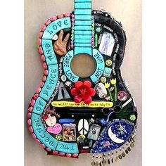 Hippy decoration ~ Woodstock Art guitar