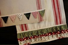 Kit includes pattern, fabric and twill to complete 1 kitchen towel with a bunting. The ruffle towel kit is sold separately.    Fabric may vary, but will include prints from our Countdown to Christmas and Hometown fabric lines.