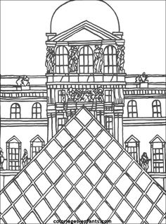 coloriage du musée du Louvre