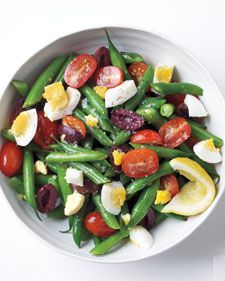 Green beans with tomato, olives and eggs. Martha Stewart Everyday Food. A. A+ with feta!