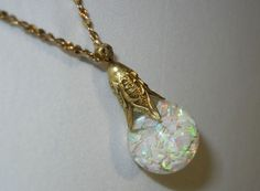 EARLY 1920'S -  HORACE WELCH (Marked Pat.6.27.22) 14K GOLD FLOATING OPAL Pendant #Pendant