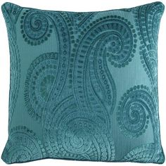 Get the look of luxe in a rich monochromatic hue and plush texture. TheHarlem Blues Paisley Pillow is the kind of subtle accent that makes a sofa, bed or reading nook feel inviting and irresistib… Teal Throws, Teal Throw Pillows, Accent Pillows, Paisley Bedding, Teal Bedding, Teal Living Rooms, My Living Room, Pantone, Peacock Pillow