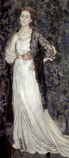 Portrait of Marina Makovskaya / Aleksandr Golovin 1863 - 1930 Russian Painting, Russian Art, Court Dresses, Photographic Studio, House Dress, Beautiful Paintings, Pattern Art, Female Art, Bridal Gowns