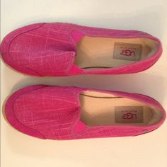 Ugg Delizah slip on shoes Ugg Delizah slip on shoes. Raspberry Sorbet color, adorable canvas slip ons.  Almost no wear whatsoever!   Excellent condition! UGG Shoes