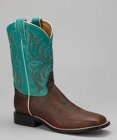 Look at this #zulilyfind! Tony Lama Dark Tan & Blue Pointeggio Cowboy Boot - Men by Tony Lama #zulilyfinds