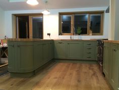 Bespoke painted Kitchen in olive farrow & ball. Olive Kitchen, Kitchen Paint Colors, Farrow Ball, Kitchen Cabinets, Interior Design, Bespoke, Kitchens, House Ideas, Space