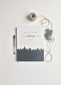 Rustic Wedding Guestbook Fall Trees Guest Book Custom