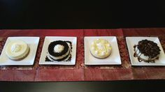 Mini cheesecakes!  White chocolate, oreo, lemon, and turtle.