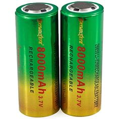 2-Pack 26650 5000mAh Real Capacity Rechargeable 3.7V Flat top Battery LED Torch Kit