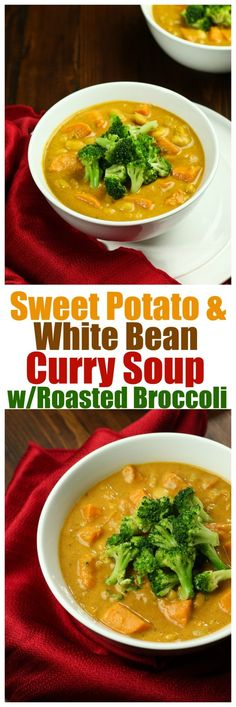 JUST 8 ingredients for this entire soup! Warm, comforting, subtly spicy, curry soup with sweet potatoes, creamy white beans and roasted broccoli. This soup is filling, full of feel-good ingredients and so easy and quick. Ready in under an hour!
