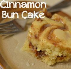 Cinnamon Bun Cake Recipe - warm cinnamon cake with sweet icing to drizzle on top!