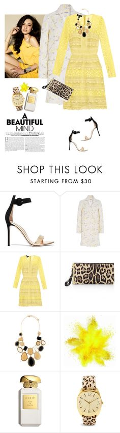 """Burberry Prorsum French-lace dress"" by lera-chyzh ❤ liked on Polyvore featuring Gianvito Rossi, Cacharel, Burberry, Hervé Léger, Kate Spade, AERIN and Chico's"