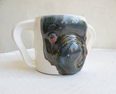 Vintage Elephant Ceramic Cup Blue Grey White Mug with by mothrasue, $10.00