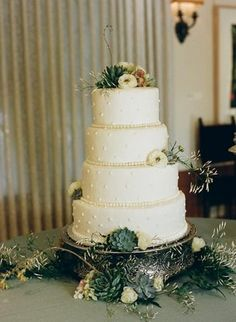 Classic Cake with Succulent Accents; Photo by Q Weddings