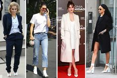 ¿Vuelven los zapatos blancos? Aprende a combinarlos Calebrities Manolo Blahnik, Rihanna, Celine, Christian Louboutin, Blazers, Michael Kors, Duster Coat, Jackets, Outfits