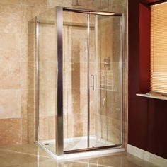 The Aquastream 1000 x 700 Sliding Door Enclosure, priced at The AquaStream 1000 sliding door combined with a side panel to form a full shower enclosure. Amazing Bathrooms, Better Bathrooms, Electric Showers, Walk In Shower Enclosures, Spare Room, Shower Doors, Sliding Doors, Space Saving, Glass
