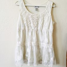 Boho Lace Top Boho lace top in a creamy white color.  Varied lace patterns.  Has layers, so not sheer - you can wear it all on its own!  Hits at a great length.  Very Free People and bohemian!  Says Large but would work for either a Medium or Large Ultra Pink Tops Tunics