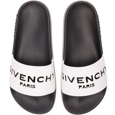 Givenchy Leather Logo Slide Sandals ($375) ❤ liked on Polyvore featuring shoes, sandals, givenchy, rubber sole sandals, slide sandals, givenchy sandals and givenchy shoes