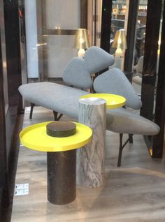 Salute table designed by Sebastian Herkner for La Chance, pele de tigre marble @Silvera, Paris  - www.lachance.fr