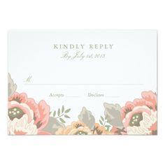 Vintage Floral Wedding RSVP Card