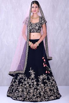 Navy blue elegant velvet lehenga choli with zari work-GC1974 image