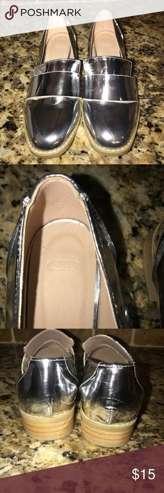 New ASOS silver loafers Size 5 Silver  Never worn Has scratches and marks .. see all photos  Priced to GO! ASOS Shoes