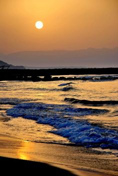 Sunset at Heraklion, on the Island of Crete.