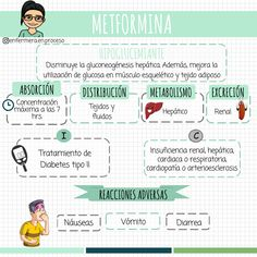 - METFORMINA - #Farmacología #Enfermería Medicine Notes, Medicine Student, Pharmacology Nursing, Nurse Love, Nursing Tips, Med Student, Biochemistry, Study Notes, Medical School