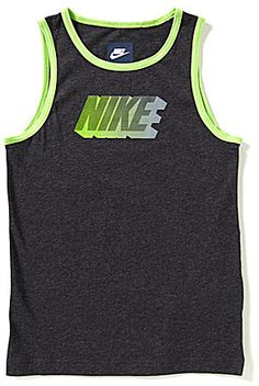 From Nike, this comfortable, modern fit tank features: crewneck sleeveless enlarged Nike logo block graphic on the front solid trim on the crewneck and arm openings organic cotton plain jersey machine wash Imported.