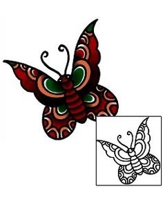 Butterfly Tattoos BKF-00972 Created by Captain Black