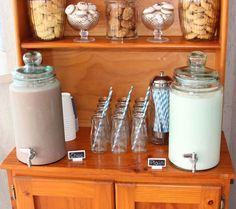 Drink station at a Milk and Cookies Party #milkcookies #party