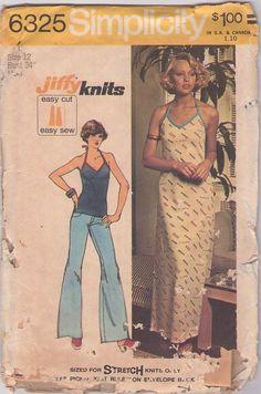 MOMSPatterns Vintage Sewing Patterns - Simplicity 6325 Vintage 70's Sewing Pattern SLINKY FOX Jiffy Knits V Neck Halter Tie Tank Top, Maxi Dress