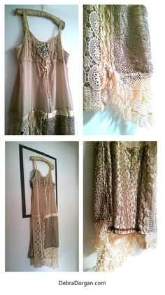 Gold Caramel Dress Vintage Lace Embroidery by AllThingsPretty