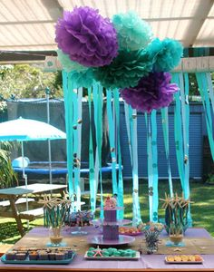 Mermaid Party - An Undersea Theme, love the purple poof balls!
