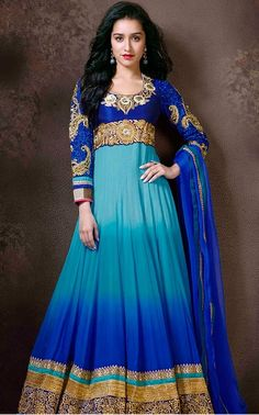 KH_1123  Semi Stitch Floor length Anarkali Suit  Dress Fabric: Faux Georgette embellished with Zari resham embroidery  Churidaar: cotton fabric  Dupatta: georgette  Measurement: Up to 38 inches (bust size)  You can stitch it to your size.  Price: £65.00